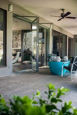 folding door with two panels and thin steel frame